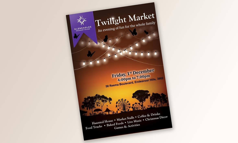 Tessella Graphic Design - Gleneagles Secondary College, Twilight Market Poster